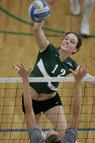 What is a dig in volleyball? A hitter tries to wipe the ball off of the block and purposefully aims their hit at the outside hand of the blocker that's closest to the antenna.