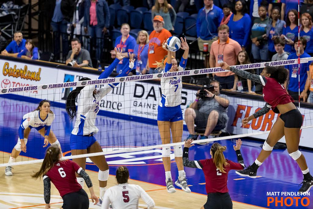 Florida Gators Volleyball block (Matt Pendleton Photo)