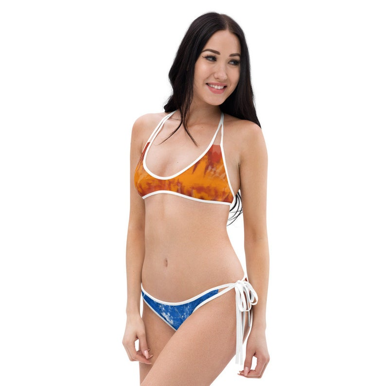 I'm super excited about the new designs on my beautiful blue tie dye bikini collection this season.