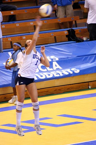 Volleyball Zones: If you serve a volleyball to the front row the setter has much less time to track the ball, stop, then set the ball especially if its an imperfect pass. (JMR Photography)