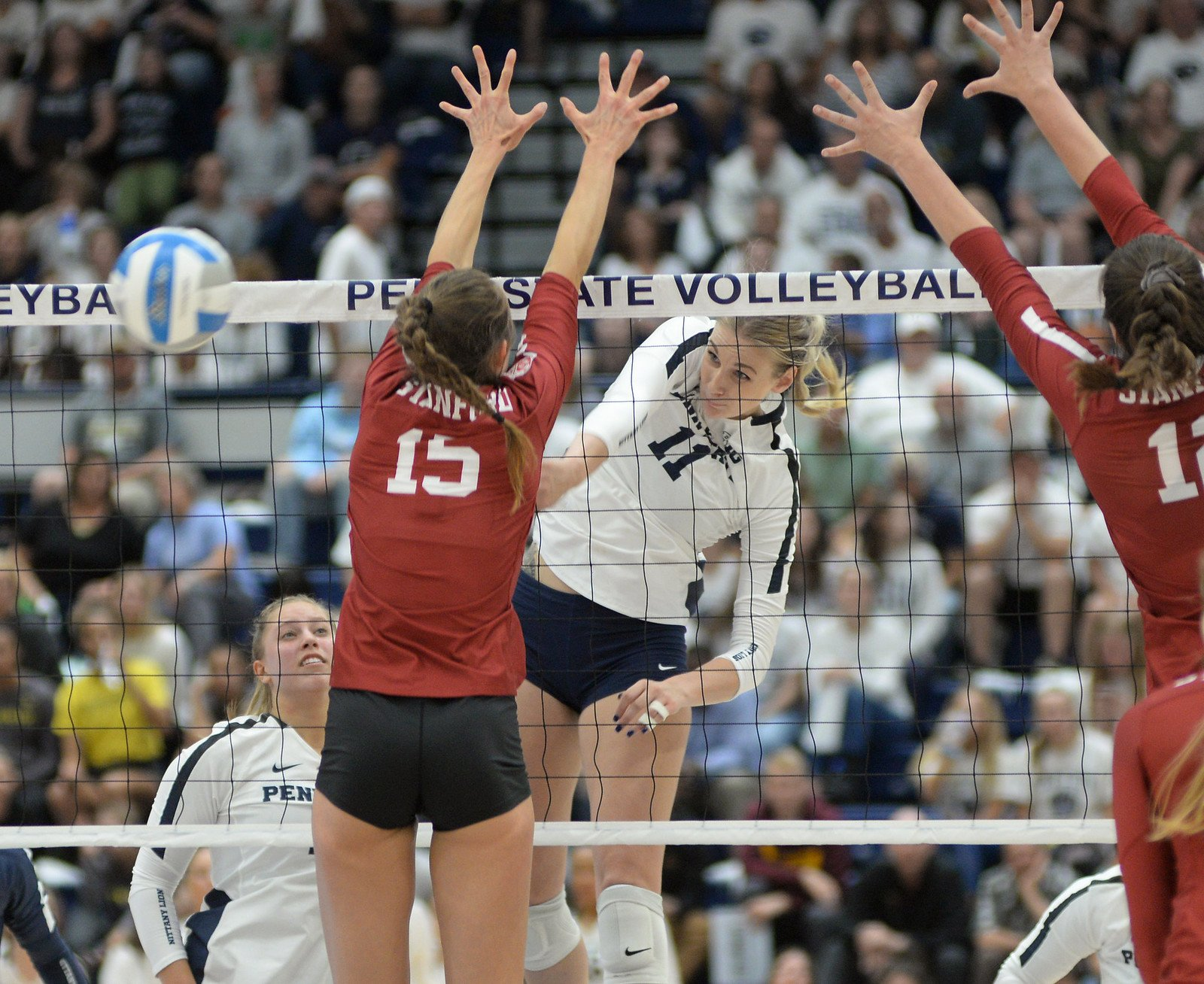 The Volleyball Approach - Three Steps When using a three-step spike approach if you're a right handed hitter you'd step on your left foot first. (Penn State News)