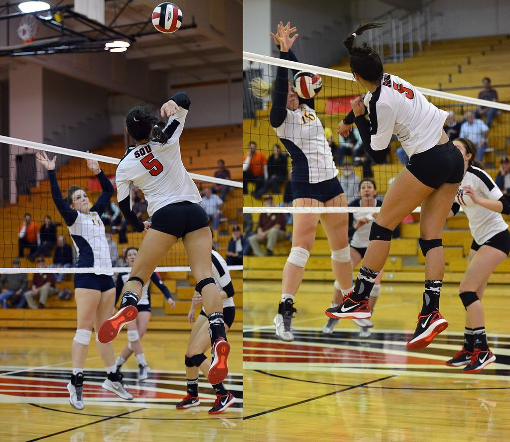 We hitting volleyball drills and skills to build up physical endurance, mental strength and confidence to hit a lot of balls against a 1 or two-person block during a match. (Al Case)