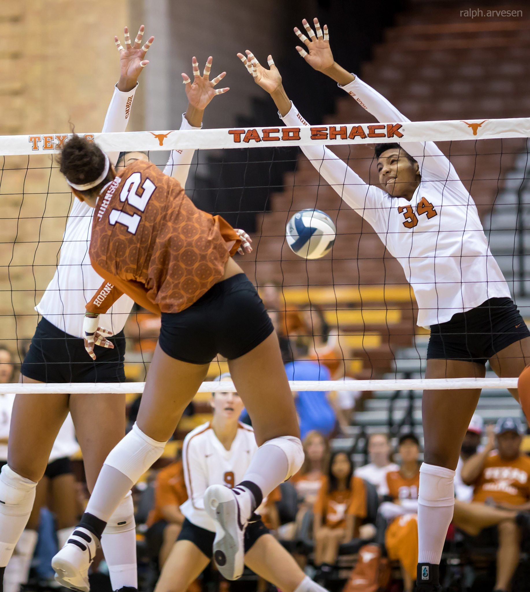 What is blocking in volleyball? When the serving team's on defense with 3 front row blockers who try to stop opposing hitters from hitting into their court. (R. Aversen)