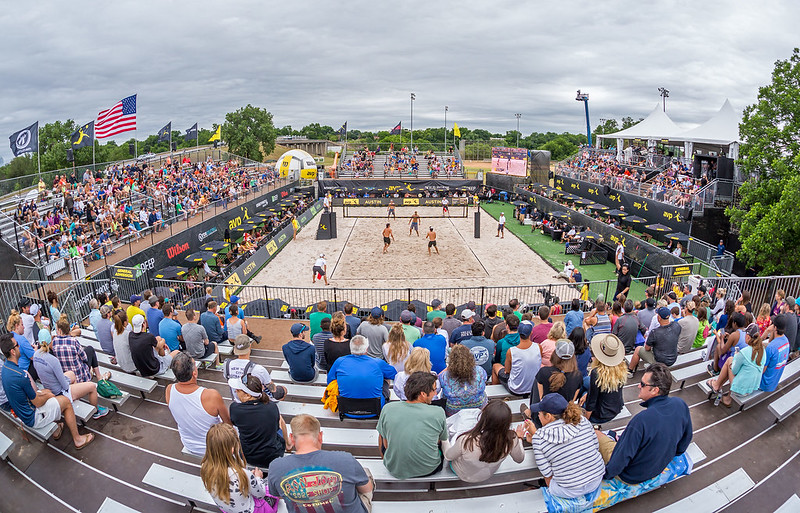 Beach Volleyball Rules: The beach volleyball court dimensions are 26 feet 3 inches by 26 feet 3 inches. In other words, each half court is 8 meters by 8 meters. (Ralph Aversen)