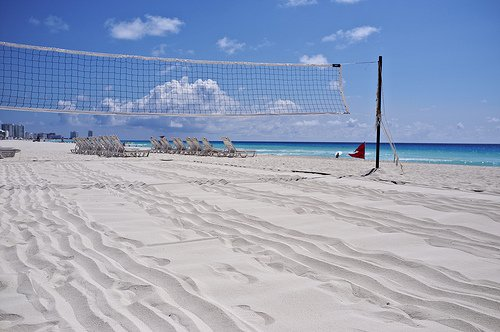 Picture of volleyball: Beach volleyball court on the sandy beach court photos by Leonard Lin
