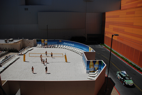Volleyball Images: Beach Volleyball court overlooking the Las Vegas Strip (Peter Dutton)