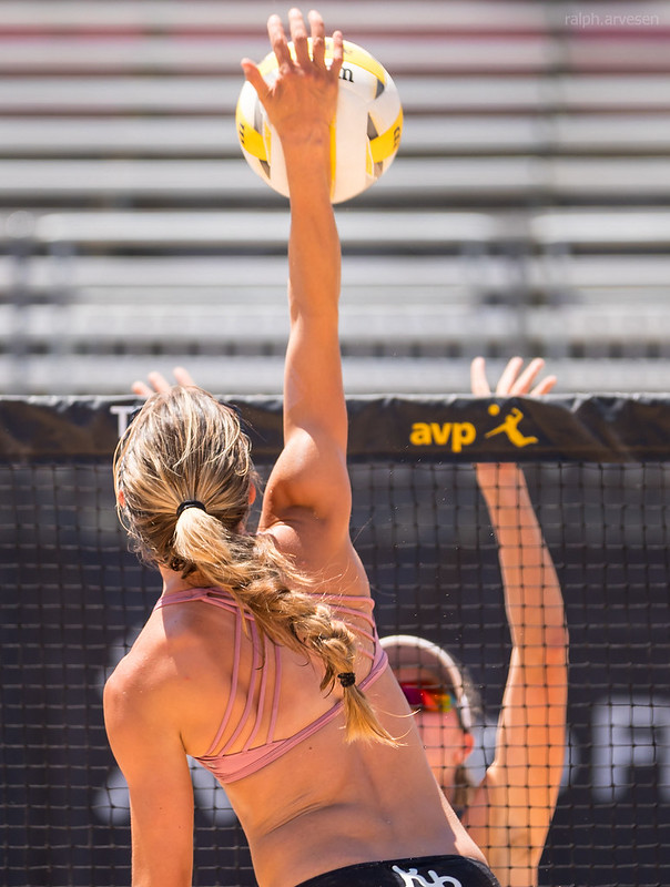 When you learn how to spike the volleyball you learn to take a spike approach followed by an armswing that brings your hand above your head to contact the ball, (R. Aversen photo)