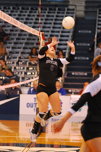 Setting Volleyball Jargon: If a setter sets a ball to a hitter who scores a point with a kill, the setter gets credit for