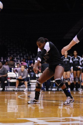 Volleyball hands: Pointing your thumbs to the ground, creates a flat  platform with your arms, perfect for controlling the ball to your intended target when you make contact with it.
