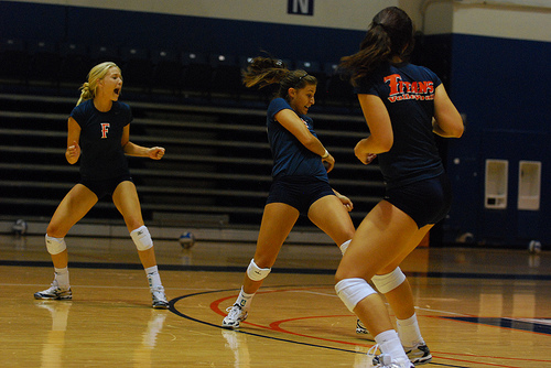 For better volleyball passing you need to take responsibility for balls that are served or passed into your area. Cal State Fullerton Titan Passers Calling The Serve