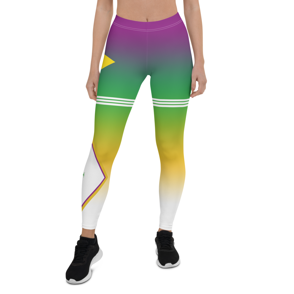 Volleyball tights and leggings inspired by  Brazilian volleyball with purple green yellow white gradient background pattern with2 triple stripes on both thighs designed by Volleybragswag.