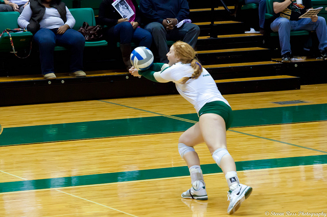 Dig volleyball spikes that are close to you or are 2-3 away by using the correct technique.