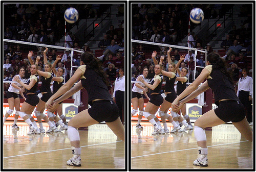 Colorado Triple Block Directing The Ball To Their Defensive Player  After Taking The Hitter's Line Shot Away Photo by Michael E. Johnston