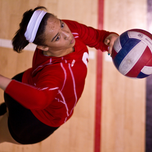 Overhand Volleyball Serve-It's critical when you proceed through all of the serving steps, that you toss the ball the same way every time you serve. (The Armstrongs)