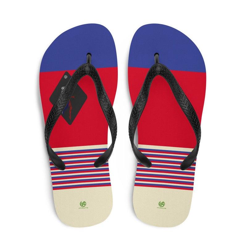 Striped Flip-Flops, White Flip Flops, Blue Flip Flops, Volleyball Flip Flops, Volleybragswag Flip Flops
