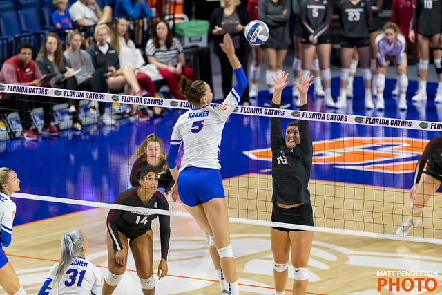 Florida Gators middle blocker Rachel Kramer attacks from the middle (Matt Pendleton)