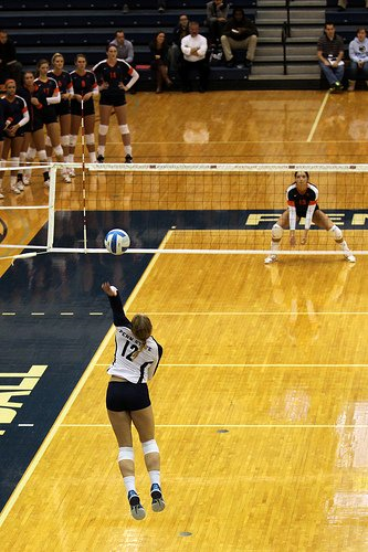 Jump float serve: Decide where you need to serve first when learning how to serve a volleyball.