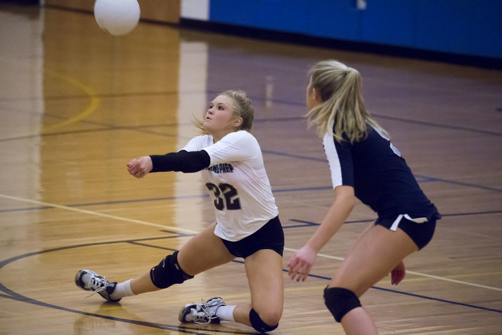 Bump in volleyball: Keep your eyes on the ball early so you anticipate adjustments you need to make with your platform or feet to control a late breaking floater serve. (Keith Allison photo)