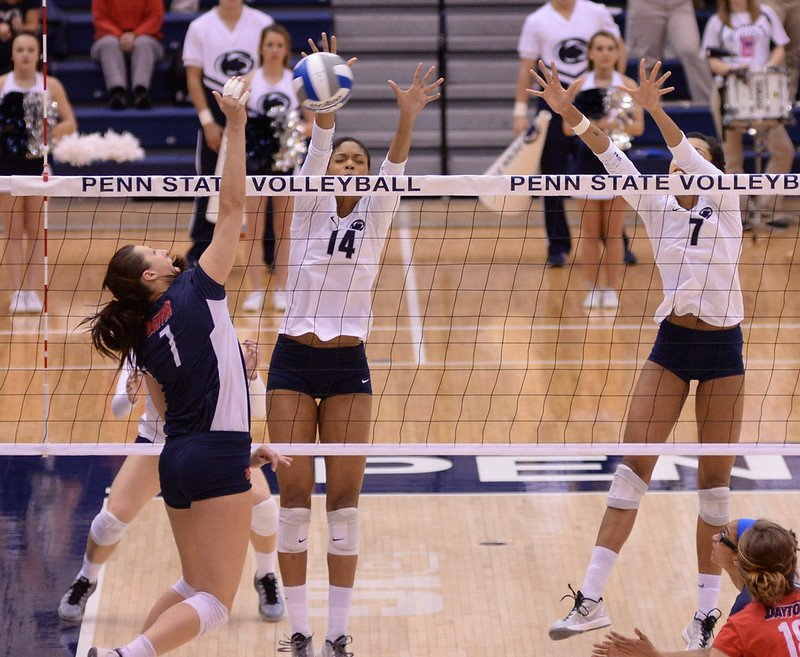 Blocker Volleyball Footwork and Block Timing: Speaking of timing, during your block, you want to wait until, just before the opposing player spikes the ball, then you jump. (Penn State News)