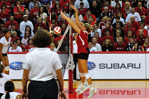 I Describe Volleyball Blocking Slang Terms: When the hitter can't hit past the block and is blocked straight down usually inside the ten foot line, it's called a