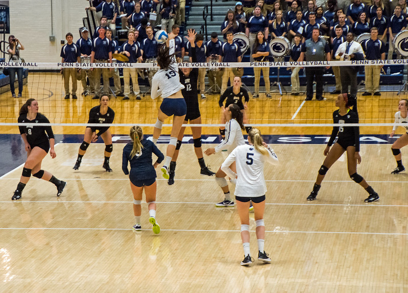 Volleyball Terminology Blocking: The one-on-one volleyball block occurs when one hitter from the team on offense has to hit a ball against one opposing blocker. (Craig Fields)