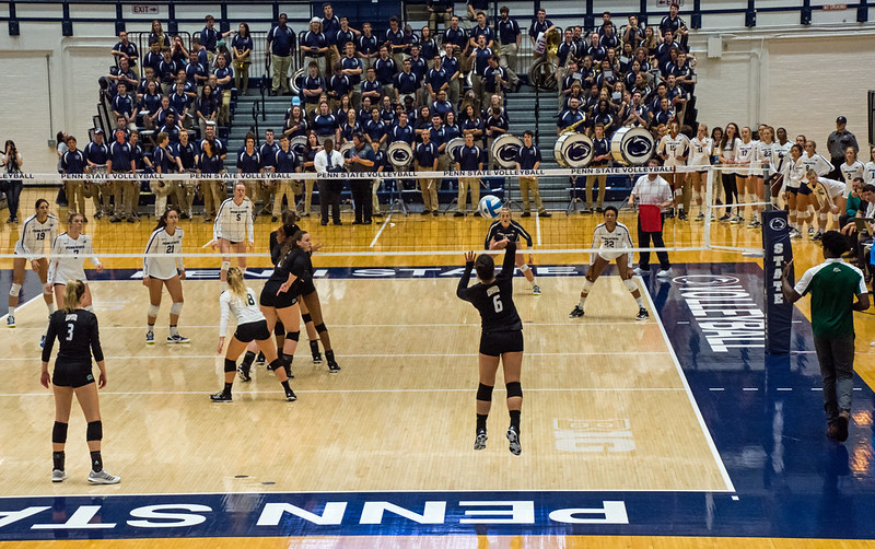 Most collegiate, club and international indoor matches are three out of five sets. The first team to win three sets of 25 points wins the match. (Craig Fildes)