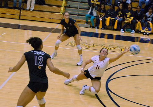 Indoor volleyball court:Arizona State Volleyball Libero Plays Defense In Zone 6 photo by RRaiderstyle