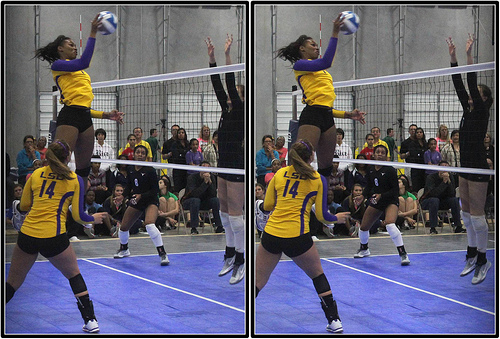 LSU hitter head and shoulders above the net