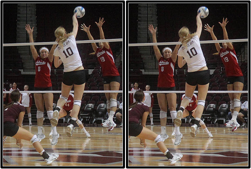 The 3 front row players on the server's side work to block a player by forming a wall with their hands, and arms that penetrate the plane above the net to stop the opposing team's hitter.