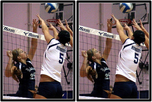 Volleyball Strategies: When two players contact the ball at the same time over the net, the second one to touch the ball almost always wins. (Michael E. Johnston)