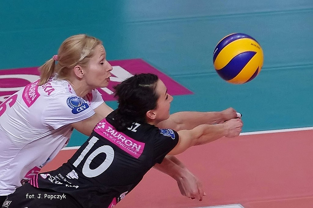A Volleyball Defensive Player: Concentrate on footwork and defensive technique needed to get to every ball on your side of the court that's within your defensive area. (Jaroslaw Popczyk)