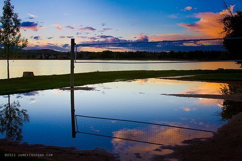 Pictures of volleyball court at sunset photo by Striking Photography.