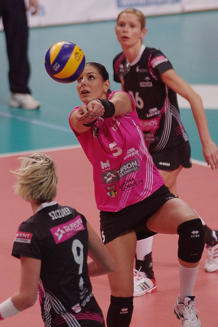 Pass a volleyball: Angle your platform to your target by dropping your shoulder.