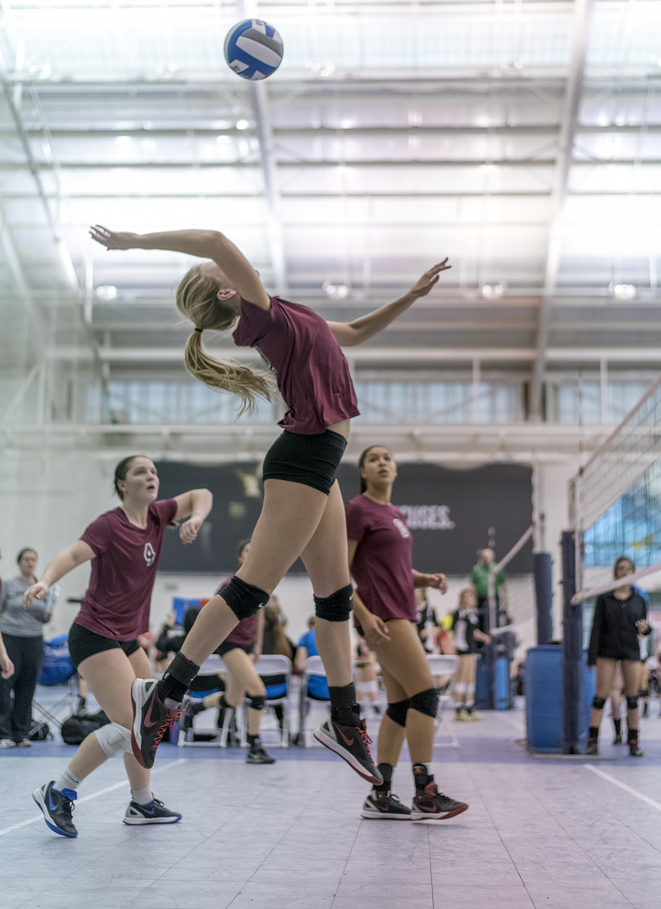 Spiking the ball describes what happens when a volleyball player delivers a high speed attack using a powerful armswing and a three or four step spike approach. (Al Case)