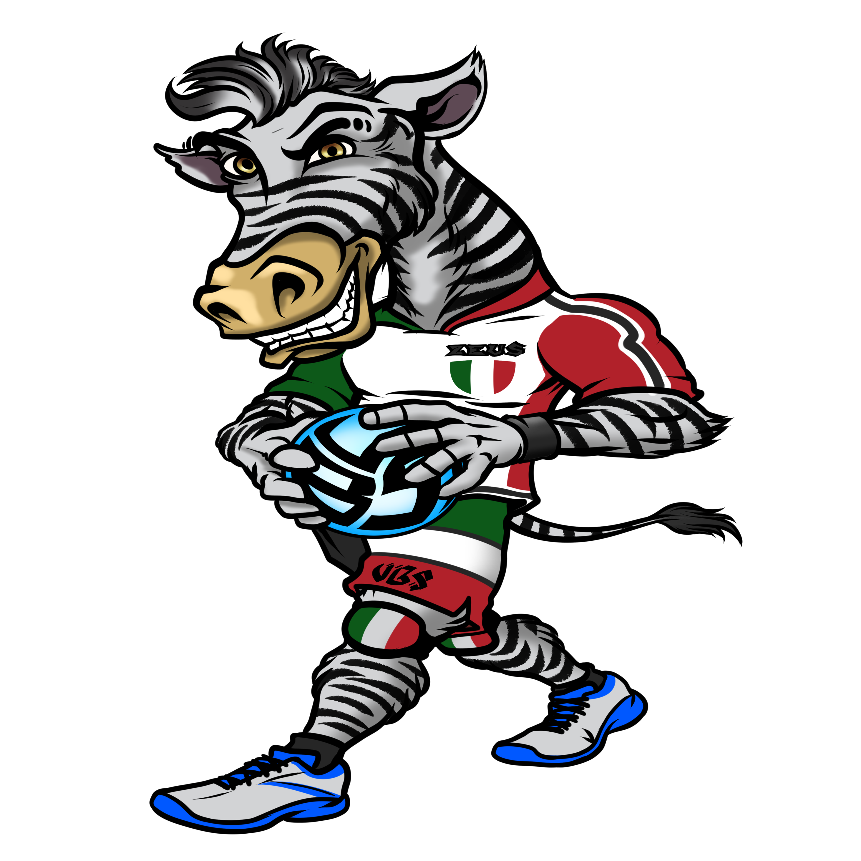 Animal T Shirt Ideas For Volleyball Players: Meet Zeus the Volleybragswag Zebra - Left Side Hitter All VBS Beast First Team wearing his Italian Flag inspired uniform